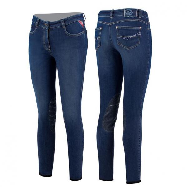 Animo Reithose Damen Noglio, Kniebesatz, Knee-Grip, Jeans, blau