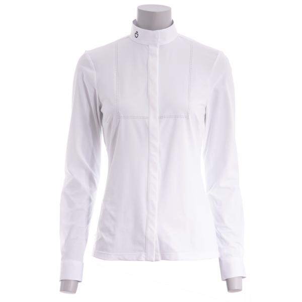 Cavalleria Toscana Damen Turniershirt Laser Perforated Tech Knit L/S, langarm