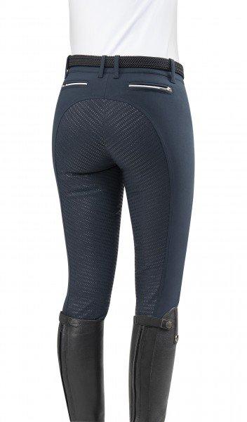 Equiline Reithose Damen Gisa, Vollbesatz, Full-Grip, weiß, blau, schwarz