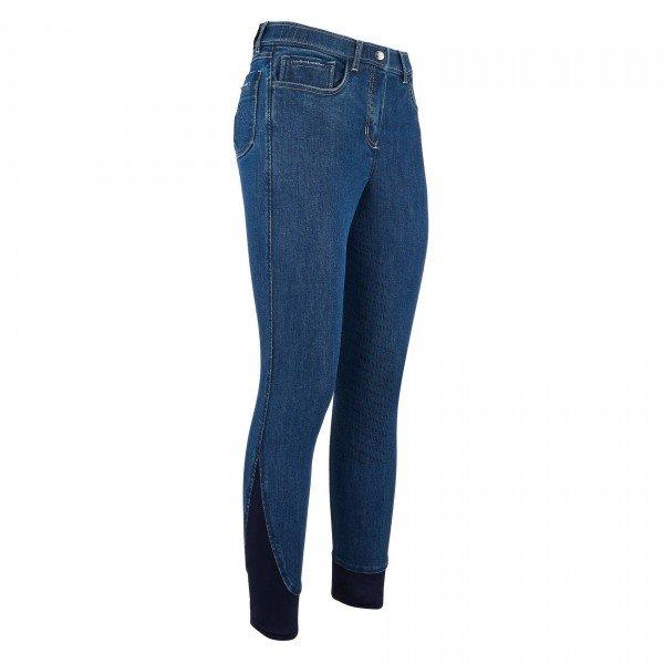 Easy Rider Reithose Damen Meike, Vollbesatz, Full-Grip, Jeans, blau
