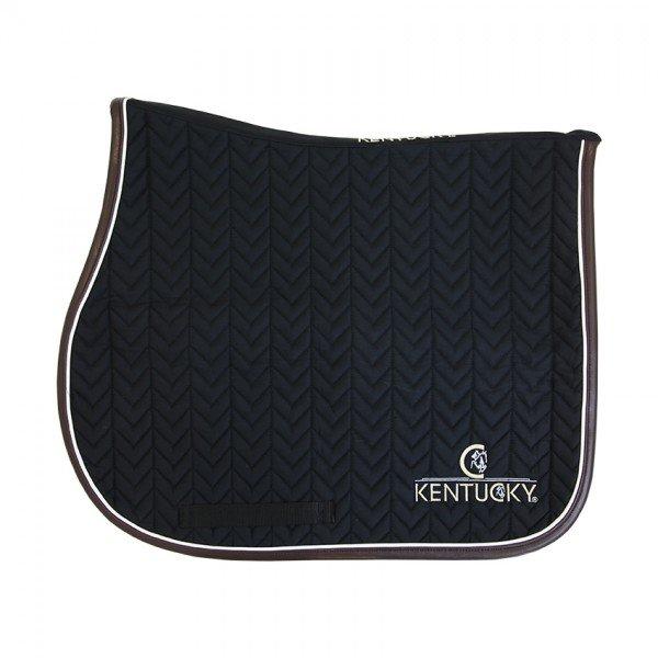 Kentucky Horsewear Schabracke Fishbone leather, Springschabracke, schwarz, weiß, blau
