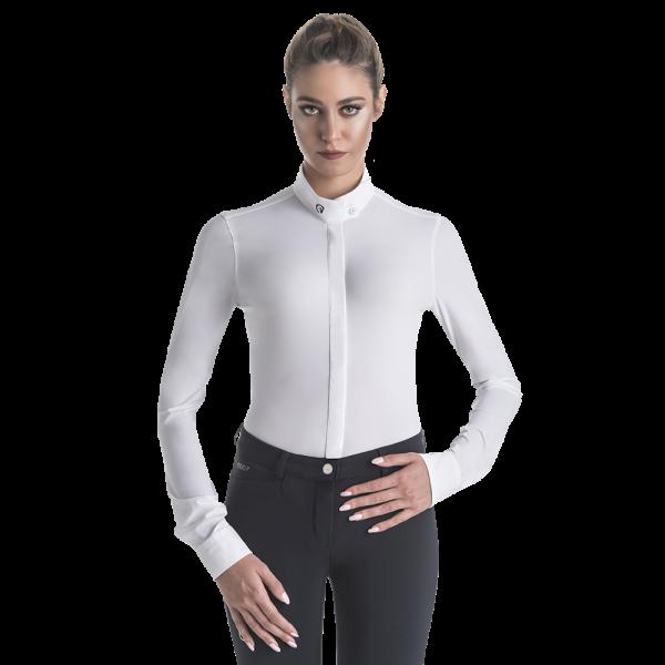 Ego7 Turniershirt Damen Polo ML, Turnierbluse, langarm, weiß, grau