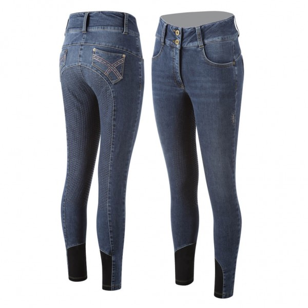 Animo Reithose Damen Nilly HW21, Vollbesatz, Full-Grip, Jeans
