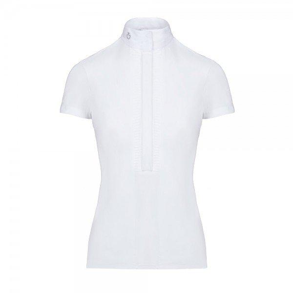 Cavalleria Toscana Turniershirt Damen Pleated Jersey S/S Shirt FS20, weiß, blau
