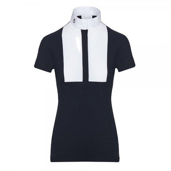 Cavalleria Toscana Damen Turniershirt Embossed Stripe S/S with BIB FS20, kurzarm