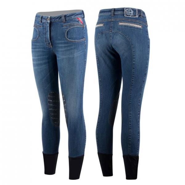 Animo Reithose Damen Niagara, Kniebesat, Knee-Grip, Jeans, blau