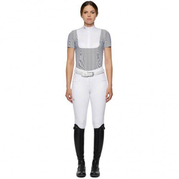 Cavalleria Toscana Turniershirt Damen Jersey S/S Competition Shirt w/Poplin Bib HW21, kurzarm