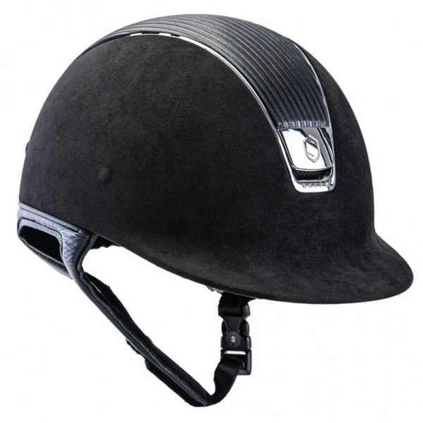 Samshield Reithelm Premium inkl. 5 Swarovski, Leather Top, silver chrome
