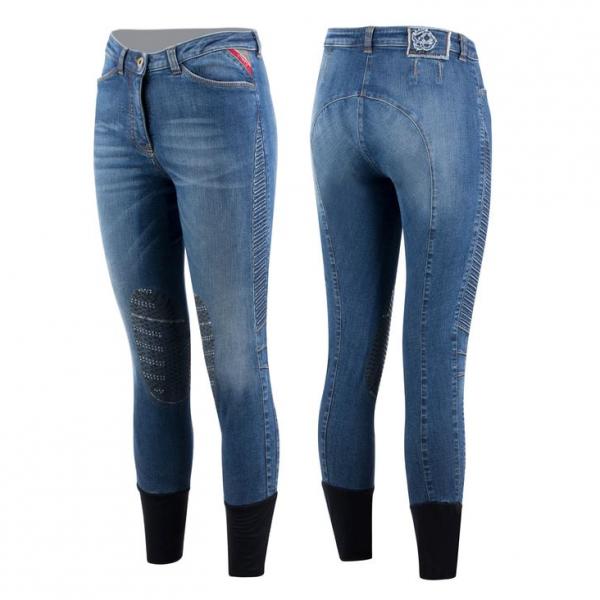Animo Reithose Damen Niwo, Kniebesatz, Knee-Grip, Jeans, blau
