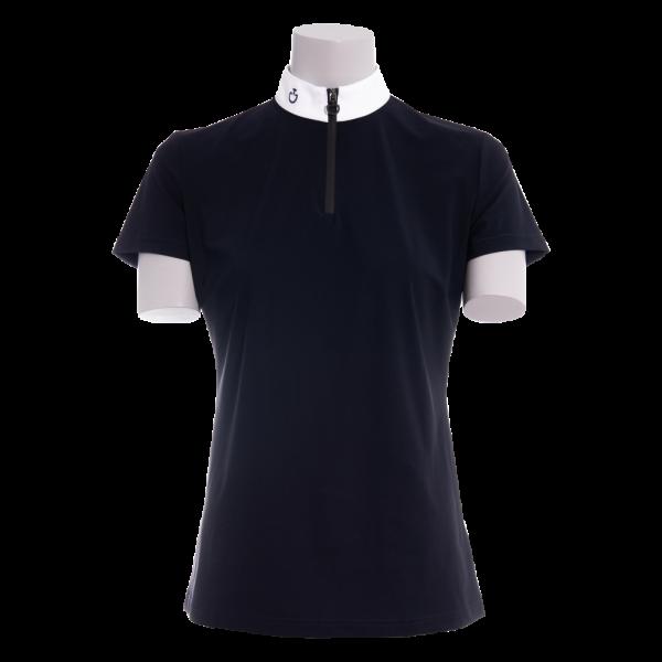 Cavalleria Toscana Damen Turniershirt Perforated Jersey Insert Polo, weiß, navy
