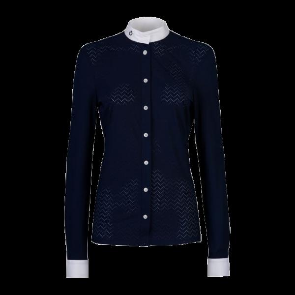 Cavalleria Toscana Damen Turniershirt Perforated Wave Jersey Langarm